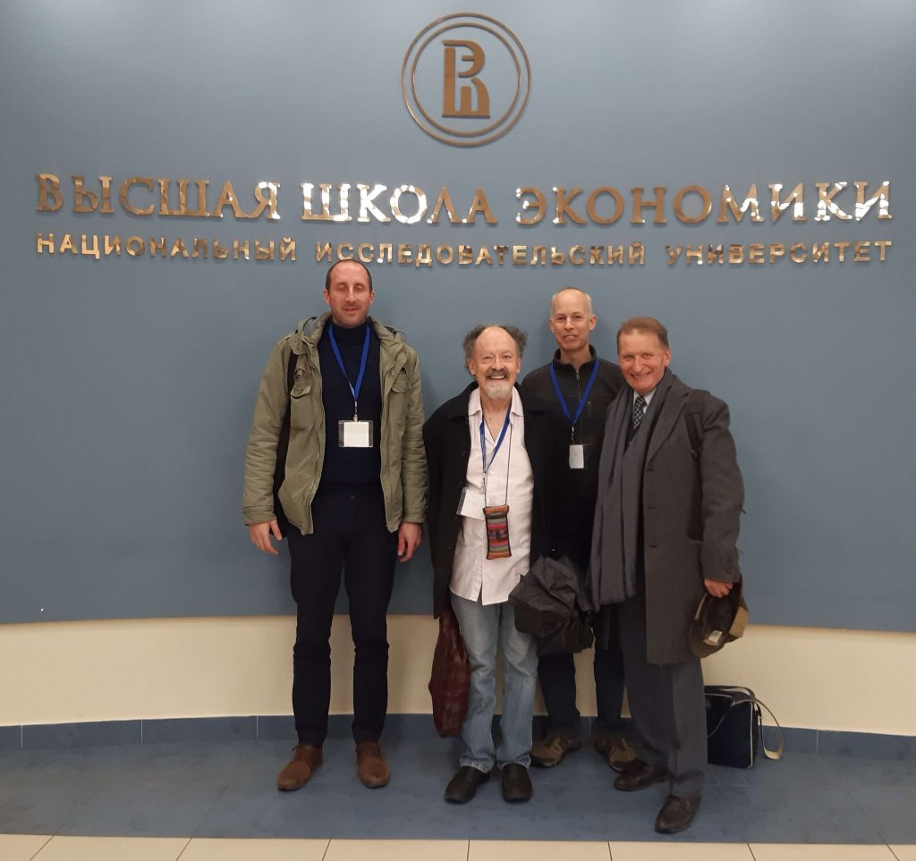 Anton Sukhoverkhov, Bob Hodge, Mark Pharoah, Mikhail Ilyin in the foyer during the Knowledge to Power conference