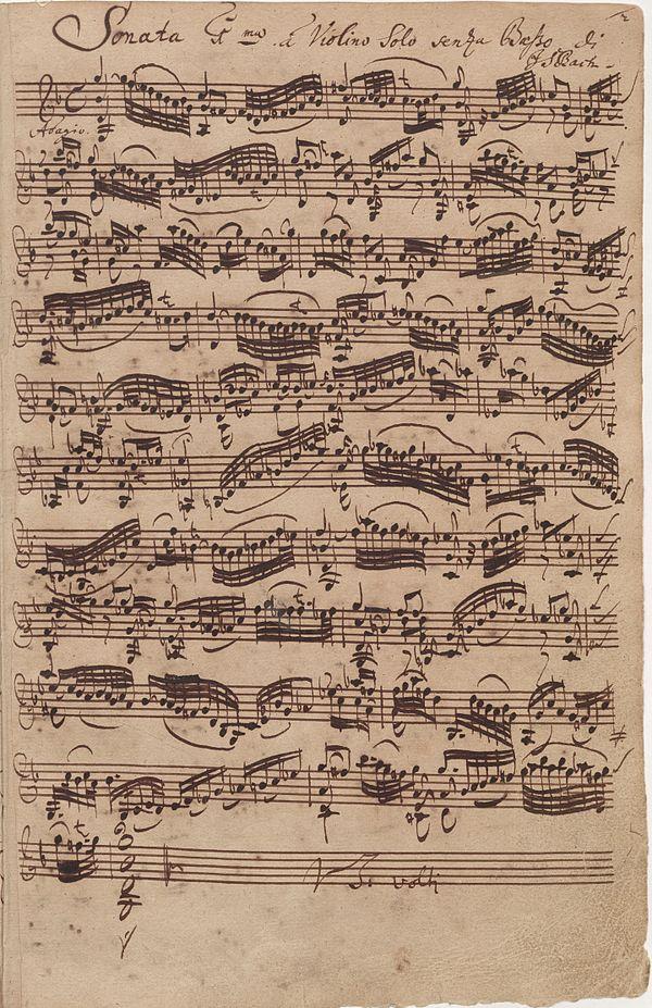 Autograph of Bach's G minor Adagio for solo violin